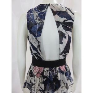 EUC DVF Silk Floral Open Back Cut Out Blouse